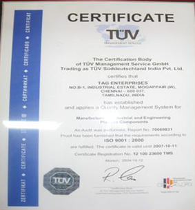 TAG Enterprises Quality Certificate